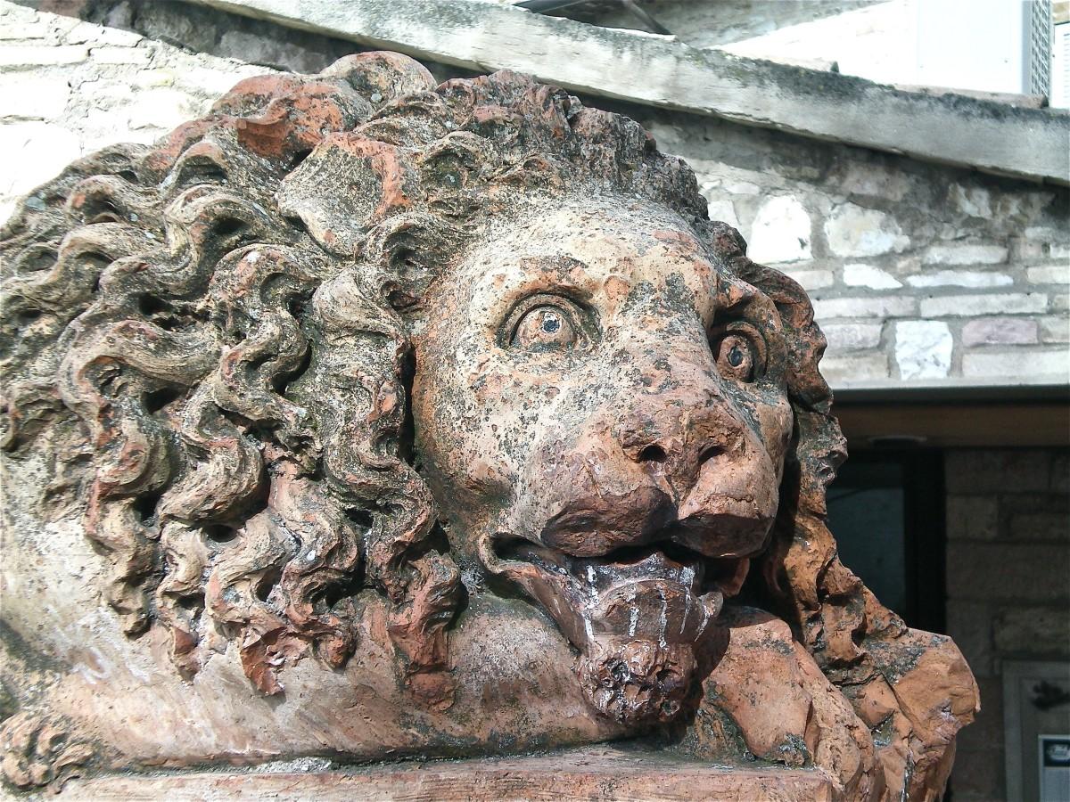 A lion awaits outside St Clare's © A Harrison