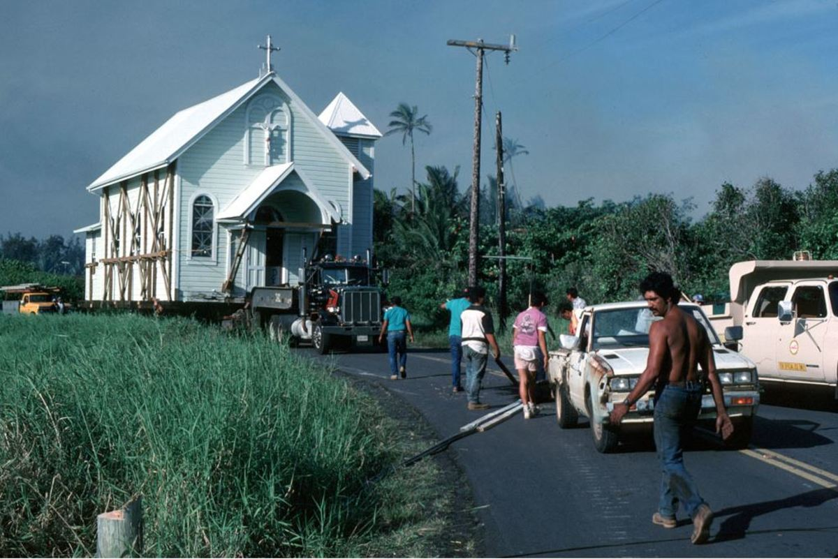 During the lava flow of 1990, the whole church was placed on a truck to transfer to a safe location.