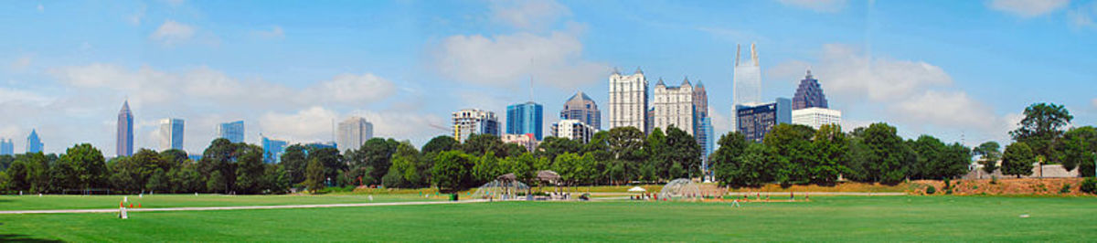 Atlanta skyline as seen from Piedmont Park.  Photo by david.cole, courtesy photographer and Wikimedia Commons.
