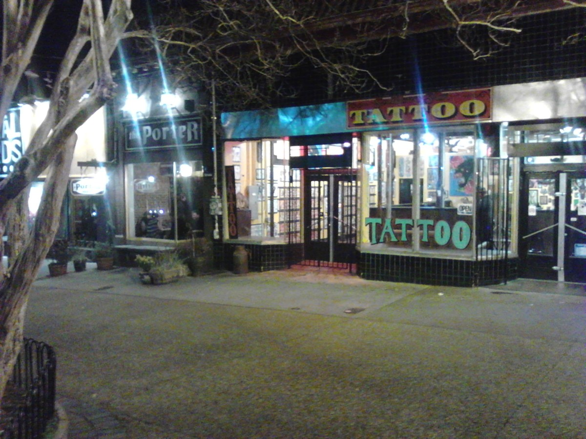 Little Five Points by night.  Cell phone pics always look grittier... photo by author.