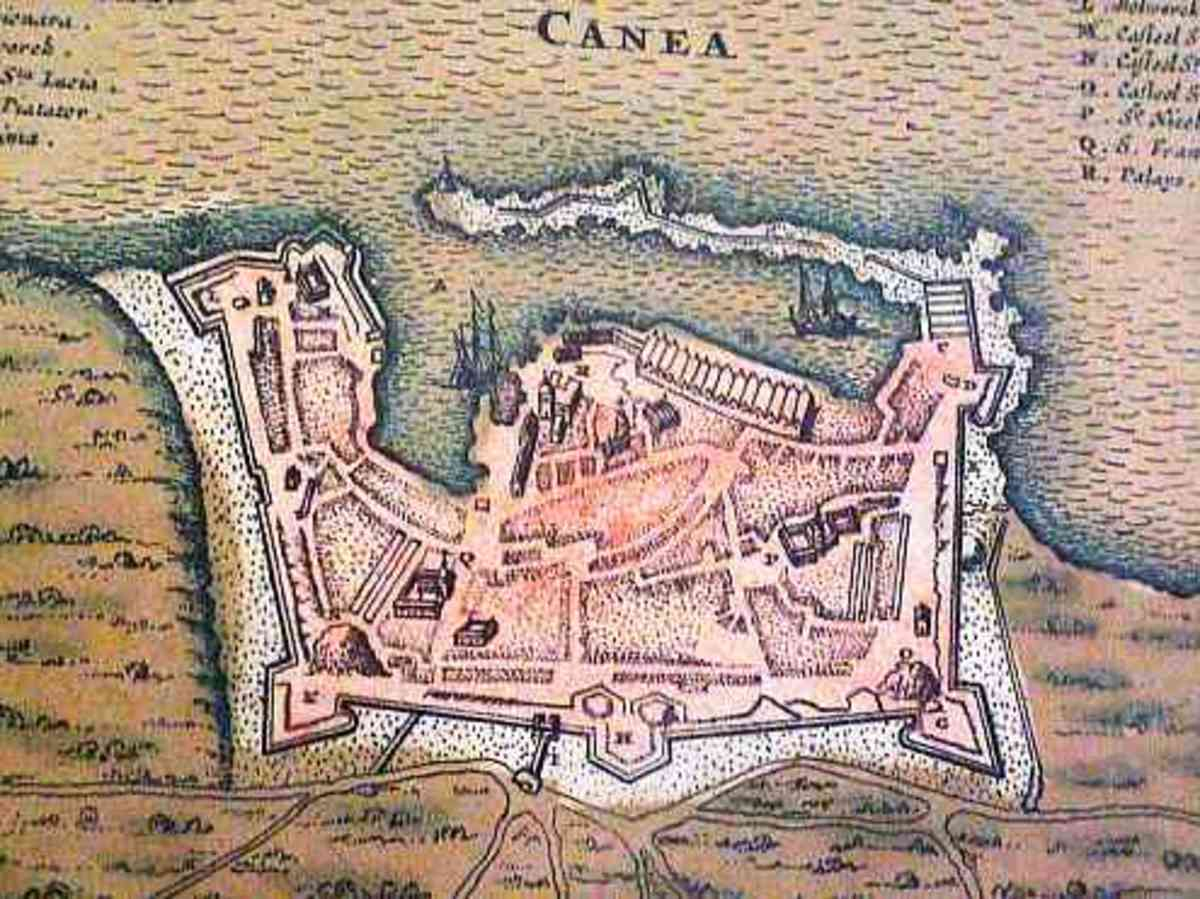 "This old map of Chania shows how the ""Wall"" surrounded the city"