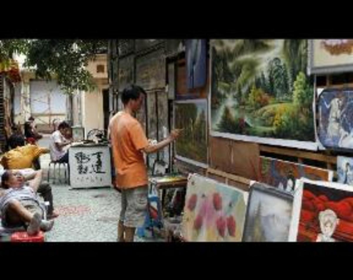 An artist at Work in Dafen Art Village