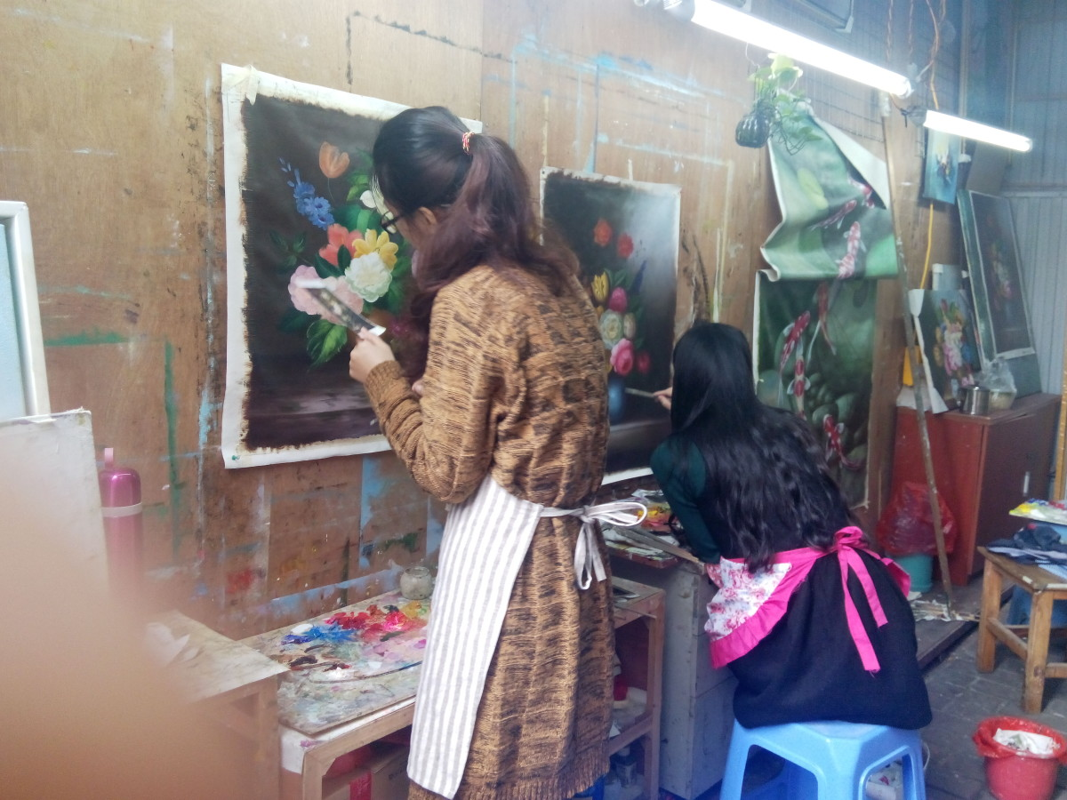 Artists creating in Dafen Arts Village, Shenzhen, China