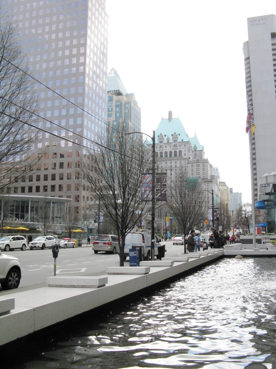 A view of Burrard Street with the Fairmont Hotel Vancouver in the background