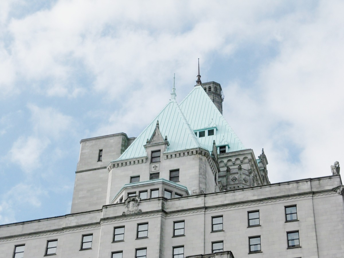 The roof and upper part of the Hotel Vancouver