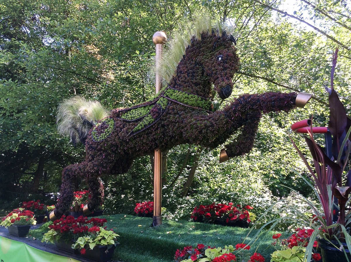 An ecosculpture of a carousel horse