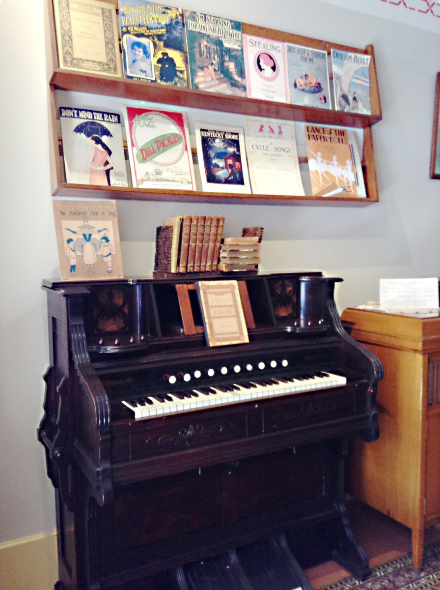 A piano in the music store