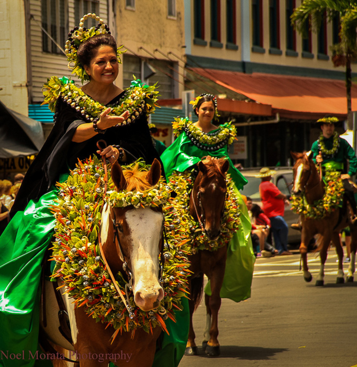 Pā'ū rider from Moloka'i. Moloka'i's color is green and its flower is the pua kukui. Check out the horse!
