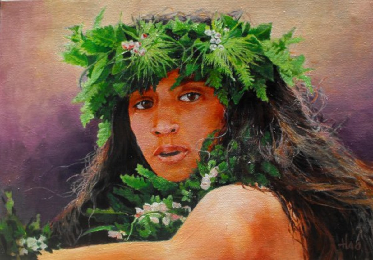 Laka, Goddess of Hula, Painting by Henry Ha'o. Laka was also known as the goddess of wild plants that grew in the forest.
