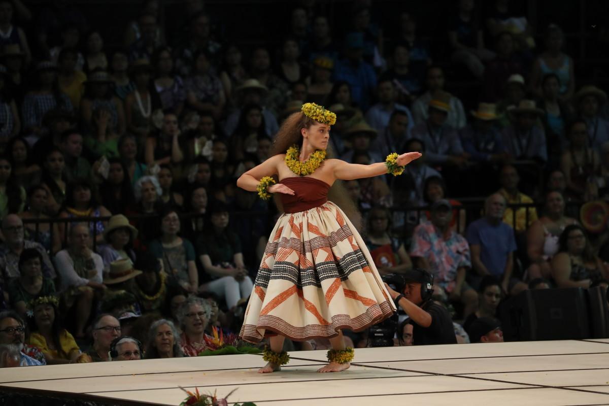 MISS ALOHA HULA 2019 Taizha Keakealani Hughes-Kaluhiokalani Hālau Hiʻiakaināmakalehua Nā Kumu: Robert Keʻano Kaʻupu IV & Lono Padilla. She also won the OHA Hawaiian Language Award for her use of the language in her opening chant.
