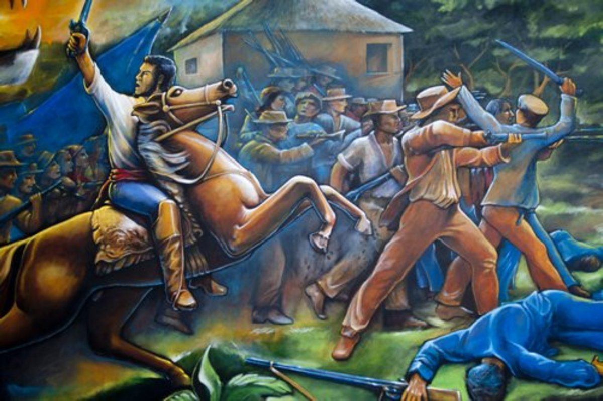 Local wall painting of Francisco Morazán at the Battle of La Trinidad, Tegucigalpa