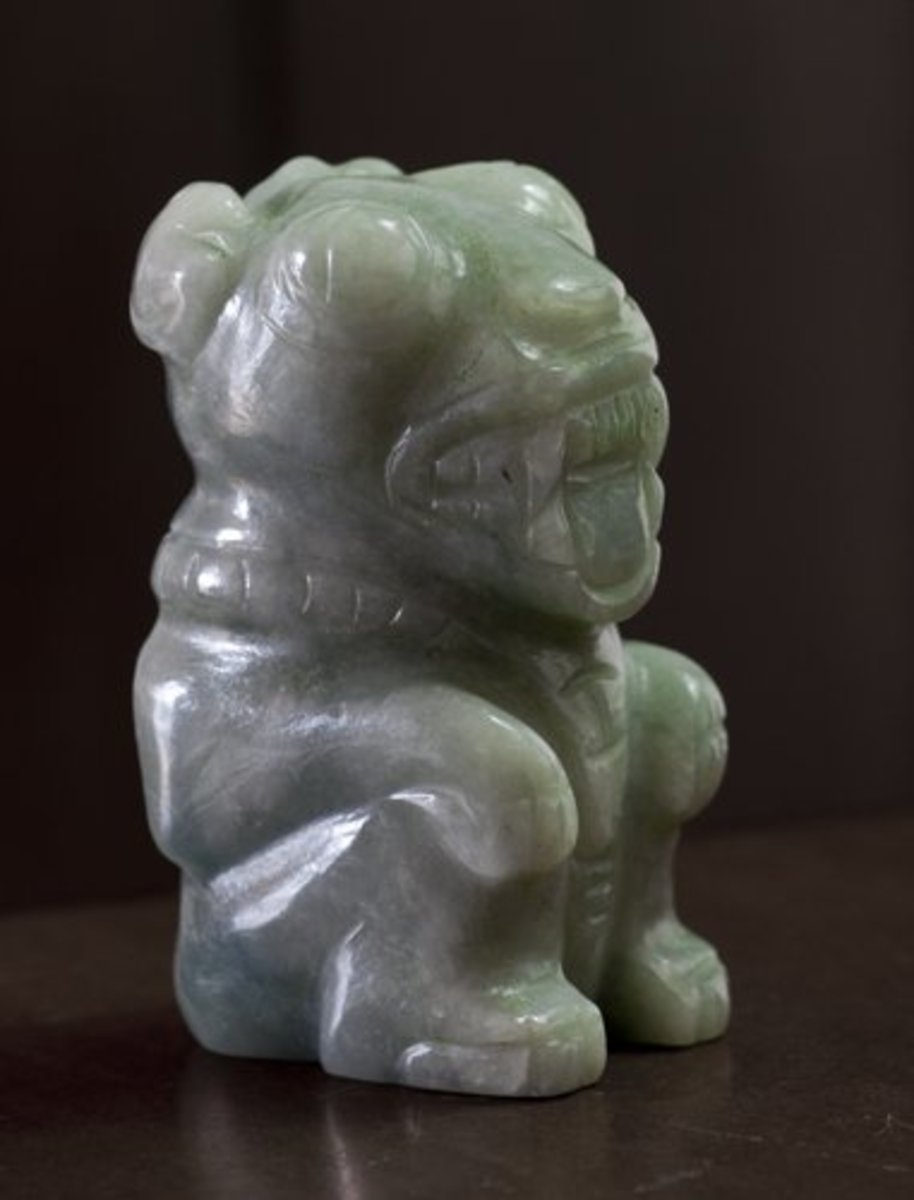 Small Jade carving of the sacred Jaguar, Copán