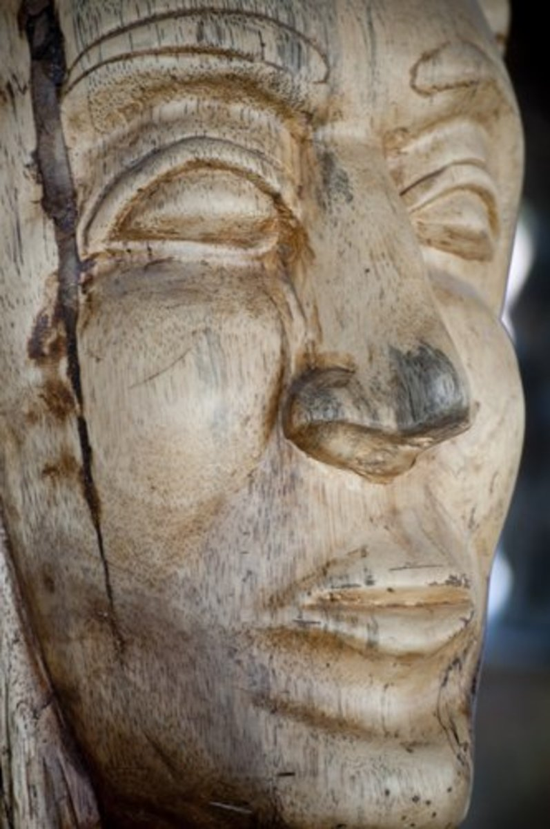 Wooden Face Carved From a Tree Trunk, Comayagua