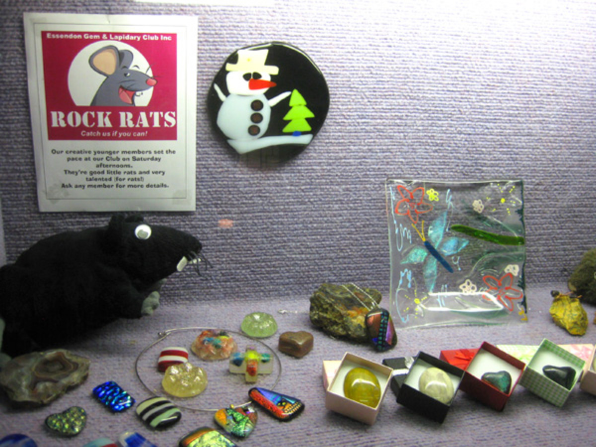 The Rock Rats children's showcase. Notice the rat mascot, which appears every year in this particular display.