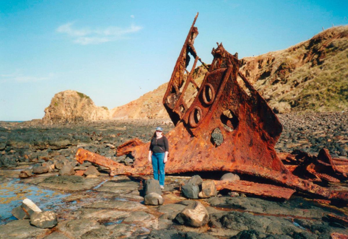 The Speke shipwreck at Phillip Island. Yes, that's me!