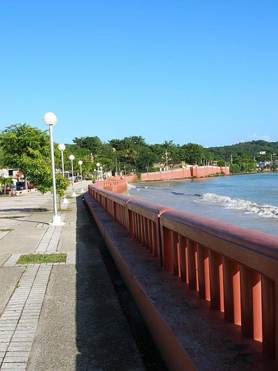 The boardwalk on the ocean in Naguabo