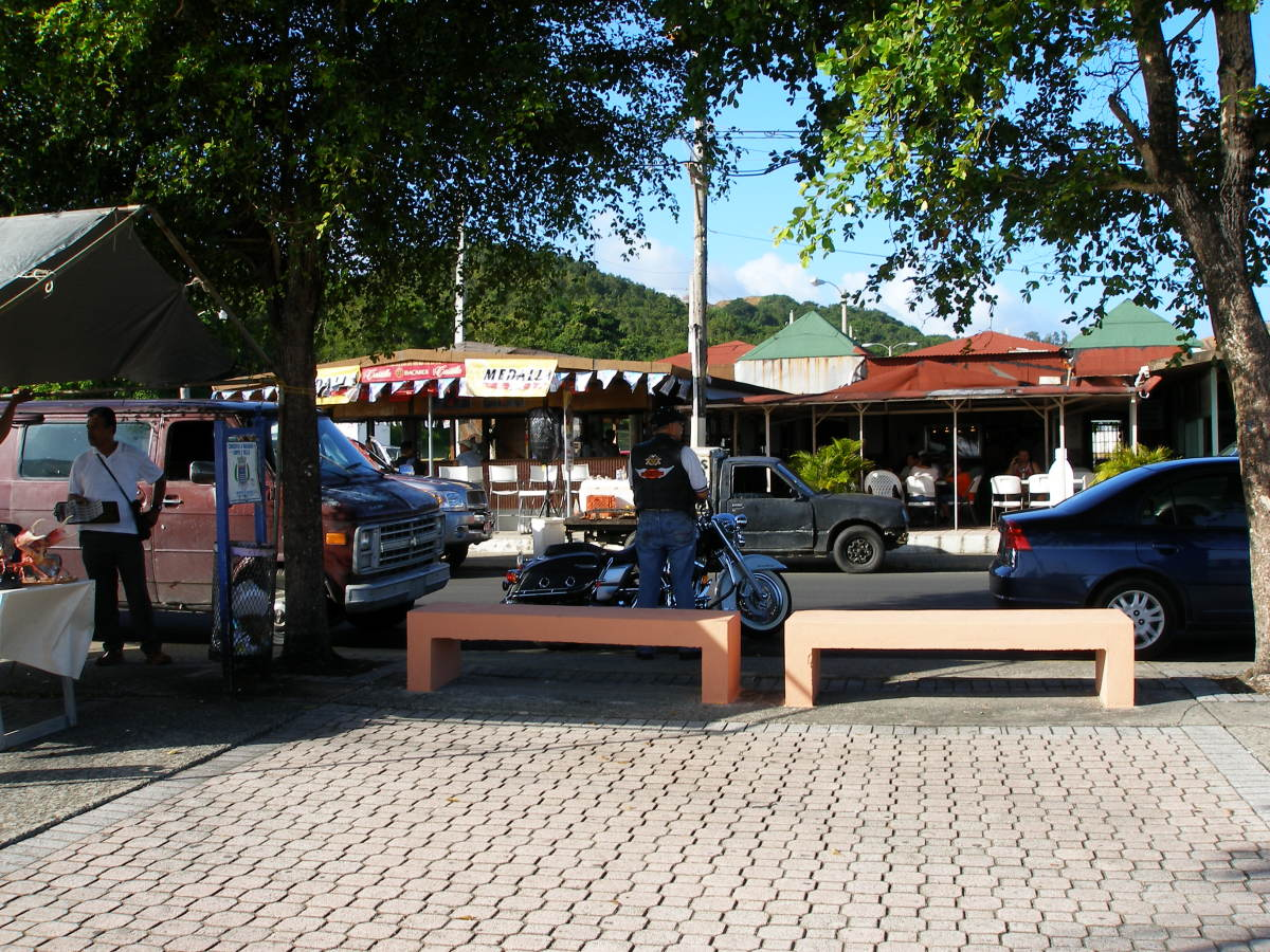 View of the boardwalk shops and restaurants in Naguabo