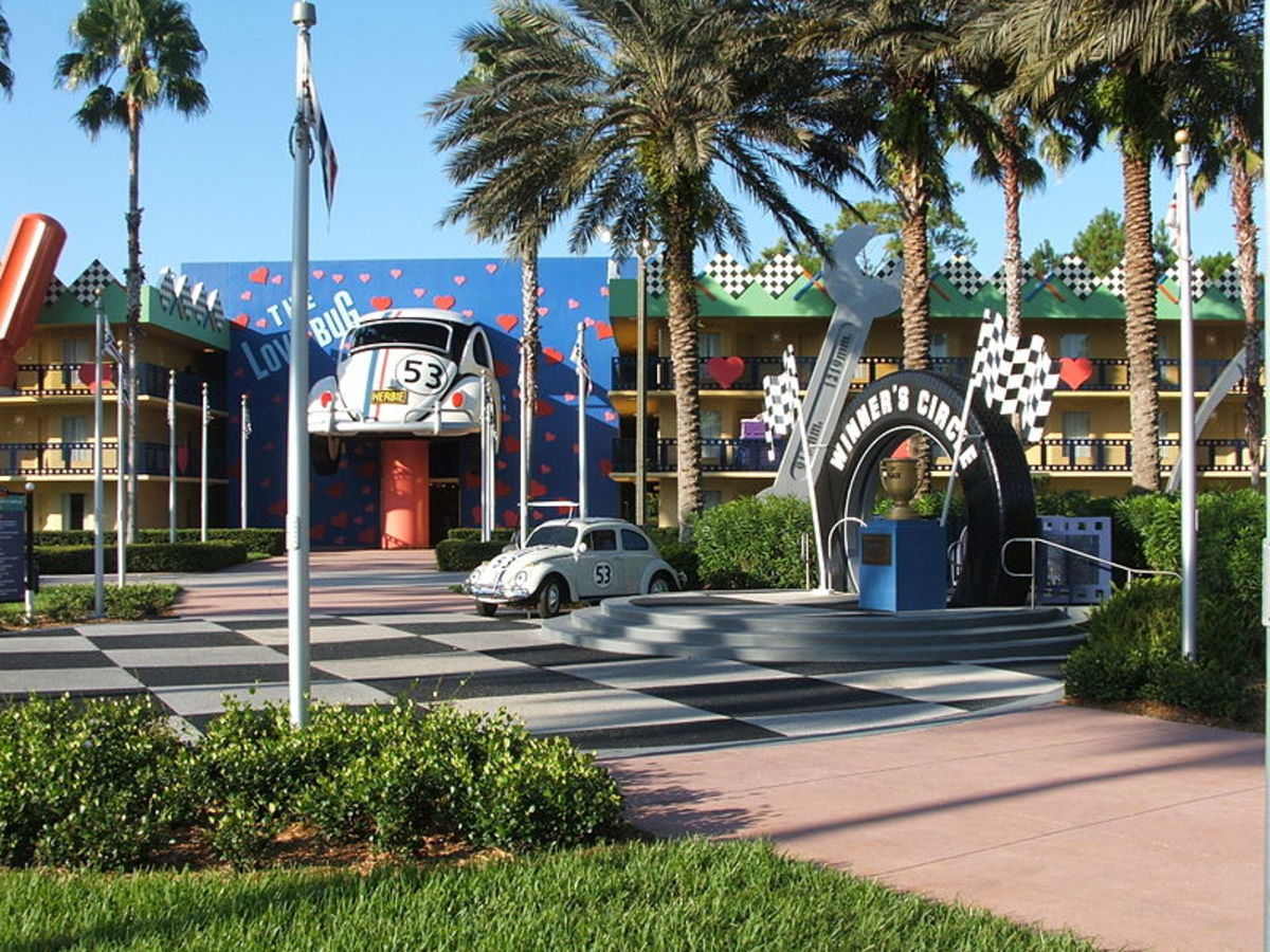 A tribute to Herbie the Love Bug at the All Star Movies Resort at Walt Disney World.
