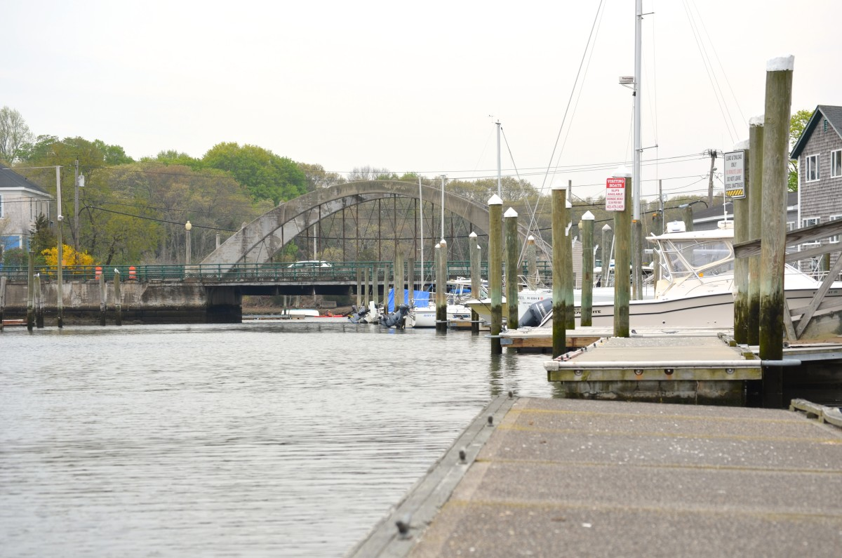 Wickford Harbor and the bridge leading into Wickford Village as seen from one of the harbor's docks.