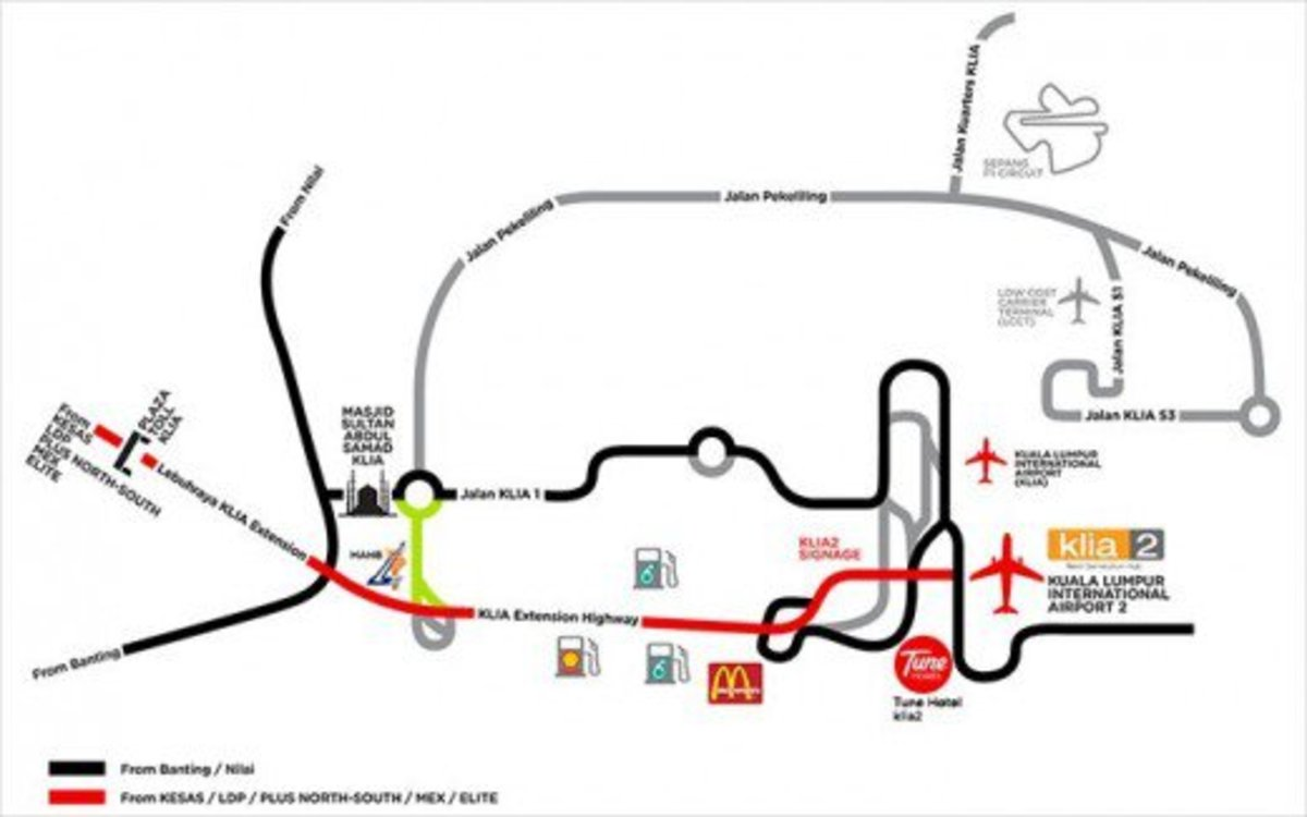 Location plan, map of KLIA2 & Tune Hotel