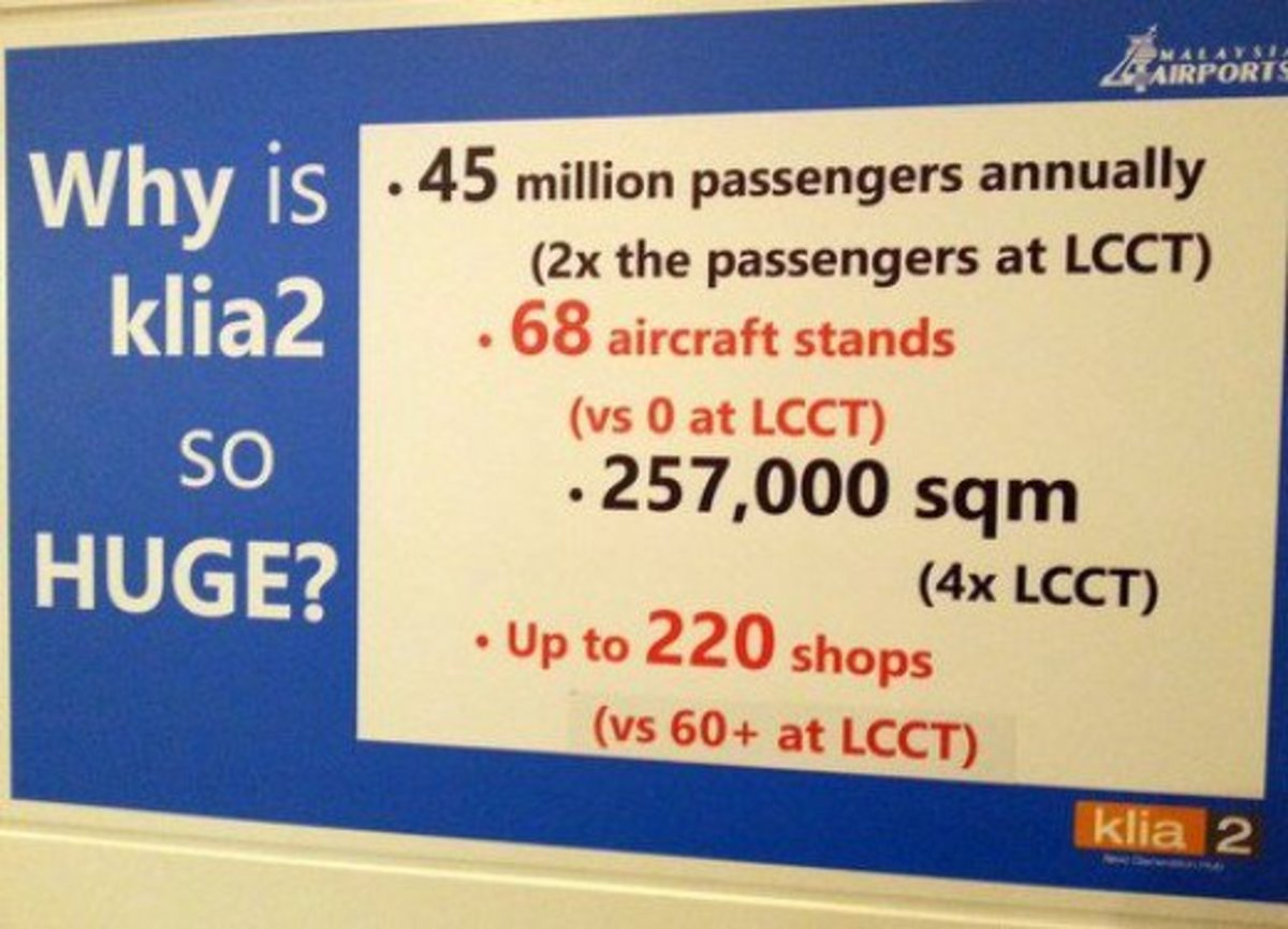 Malaysia Airports Holdings' poster at KLIA2 to explain why it is so huge