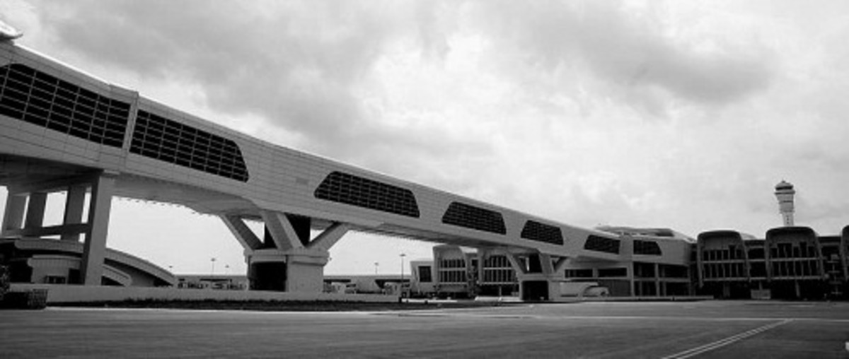 View of the Main Terminal Building at KLIA2 from the Satellite Building, with the 300m Sky Bridge on the left.