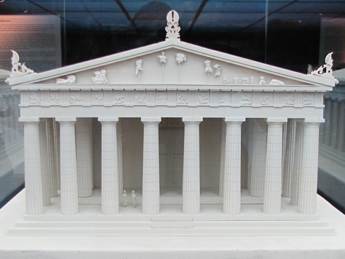 Model of the parthenon showing the Pediment and the Metopes.