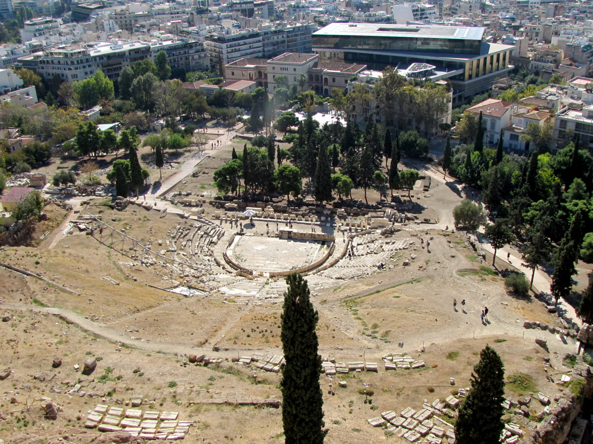 Theatre of Dionysus.  The new Acropolis Museum is behind the theatre.