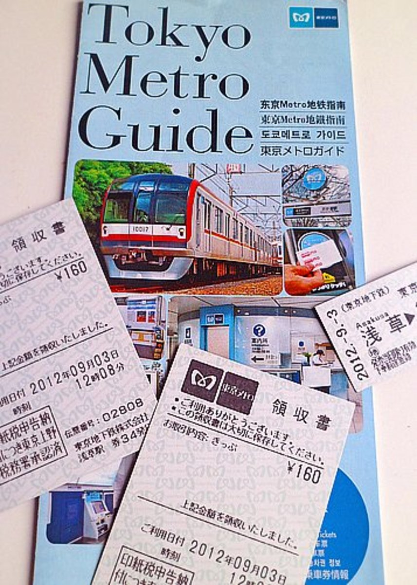 Subway map and train tickets