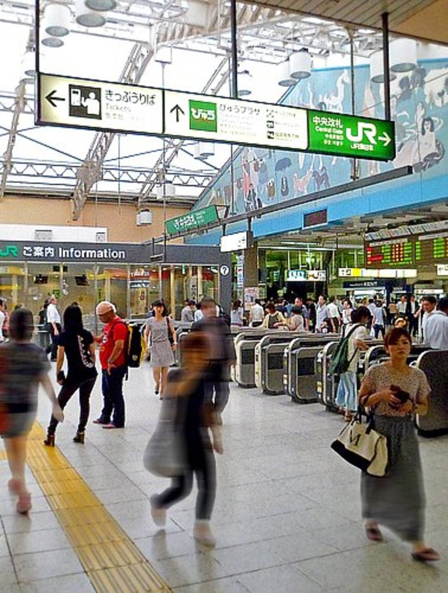 Modern and busy Ueno subway station