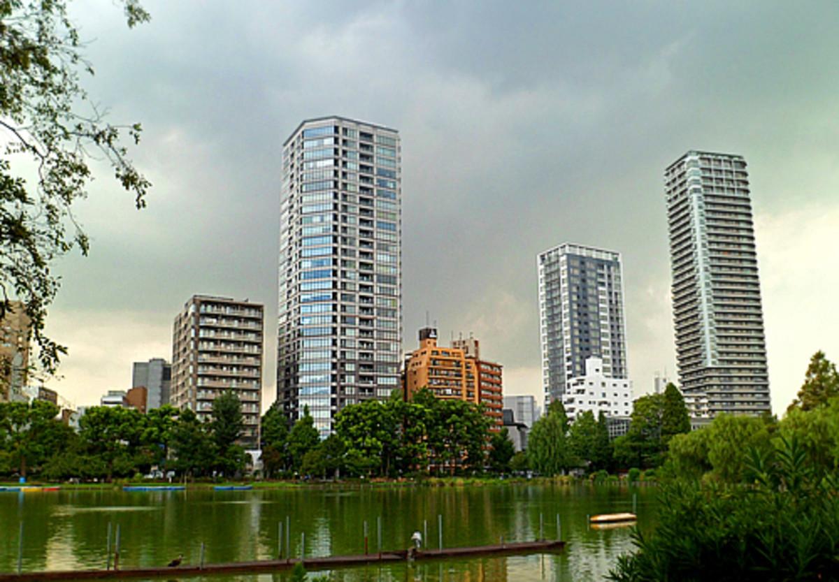 Tokyo skyline over Ueno Park