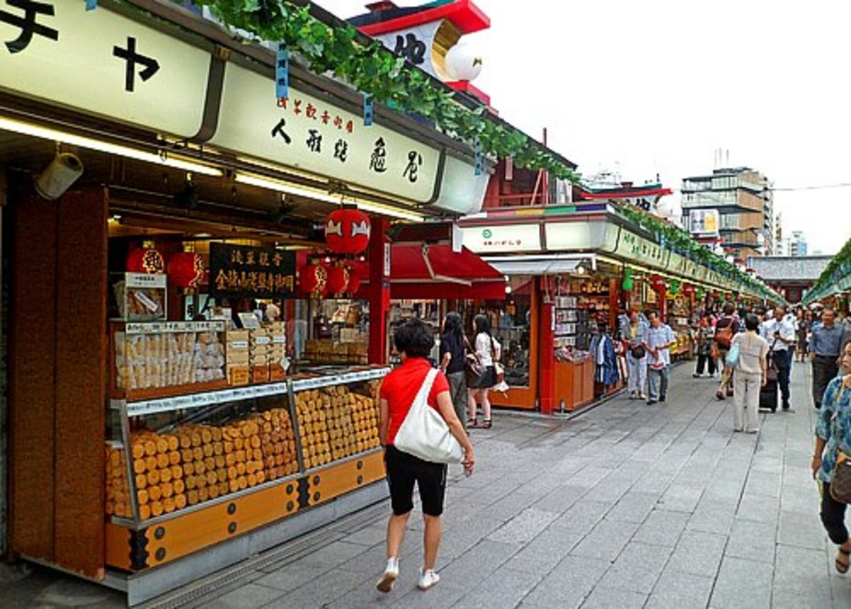 Shops selling traditional snacks along Nakamise Street
