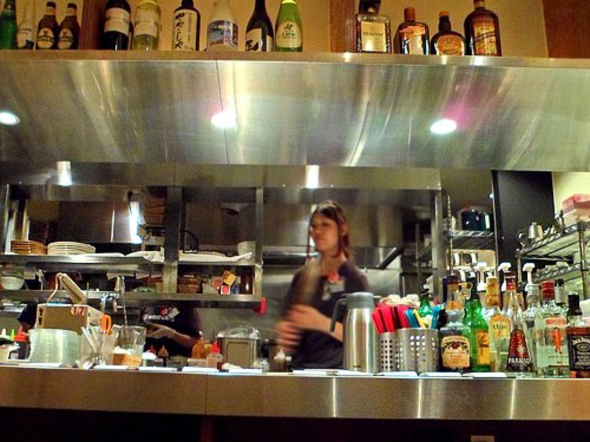 A busy waitress at Wired Café