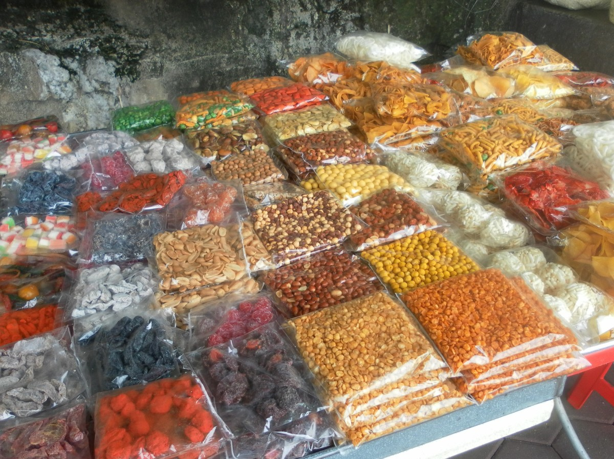 There are several small stalls selling snacks like these and drinks outside the Batu Caves.