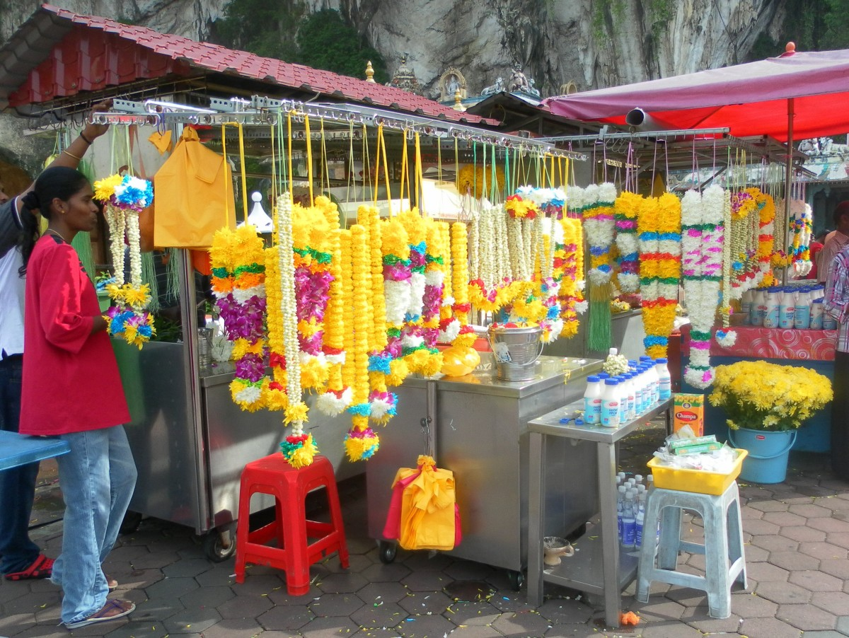 The Indian garland stall looks colourful and exotic.
