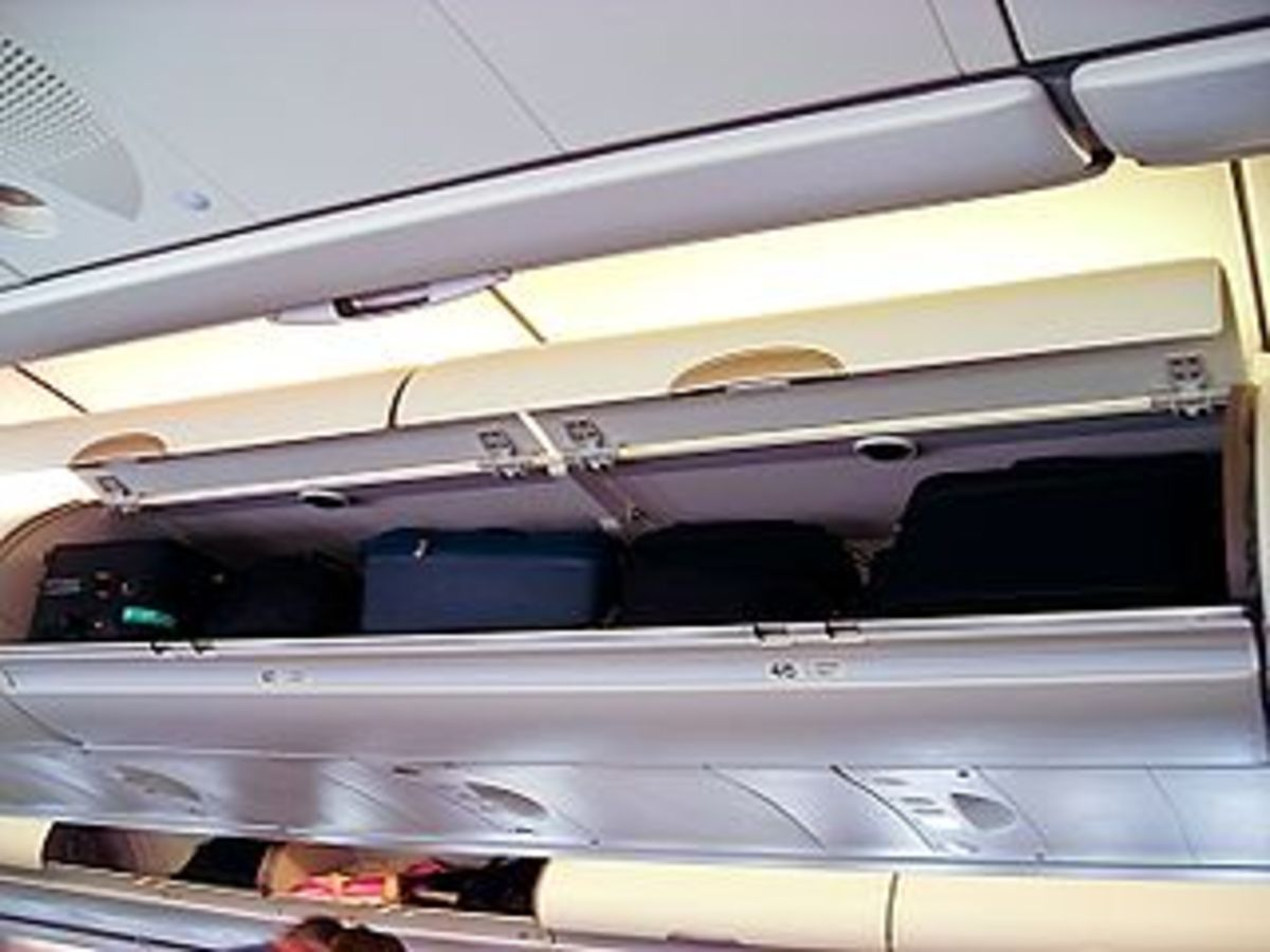 Overhead cabins are small so do not carry large bags