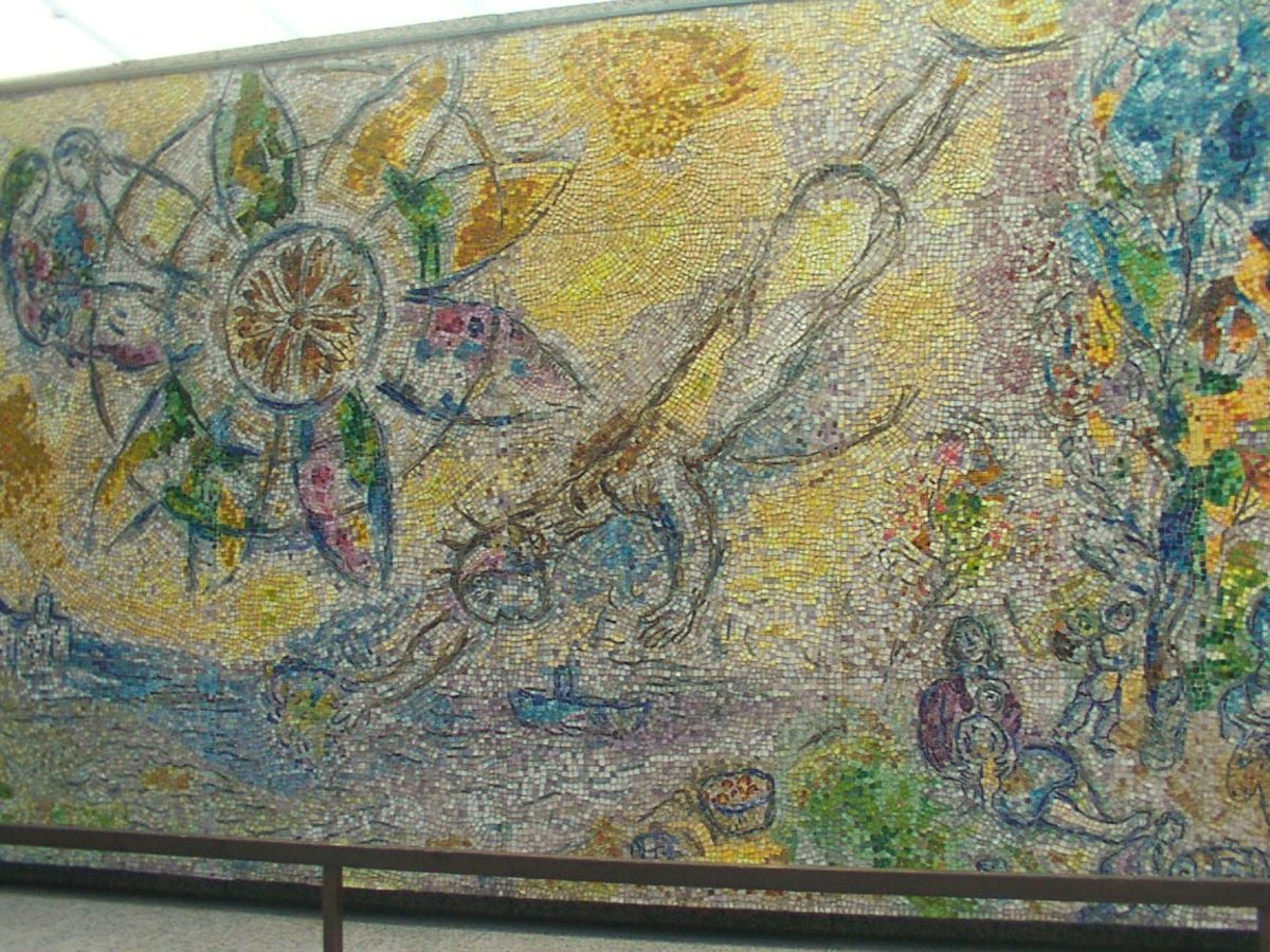 View of the other side of Four Seasons by Chagall