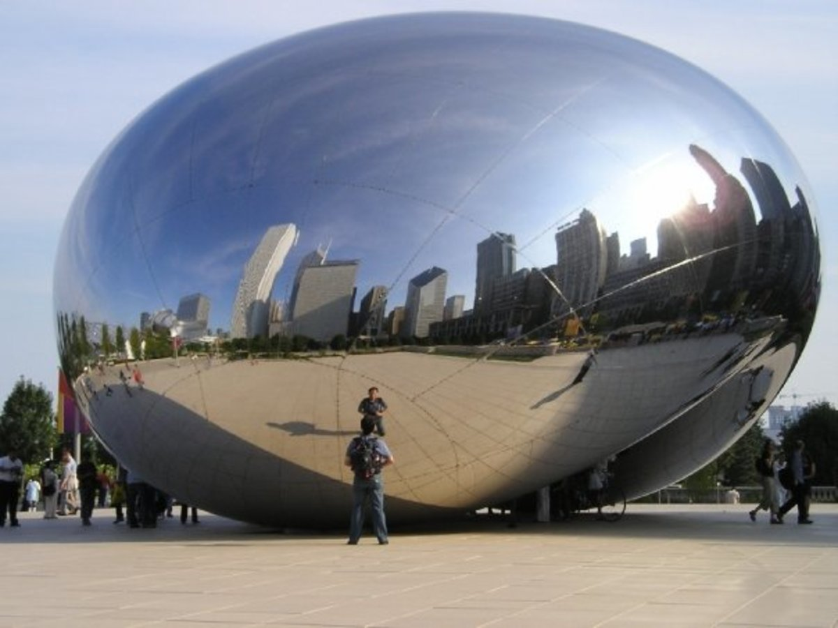 Cloud Gate (before the seams were polished)
