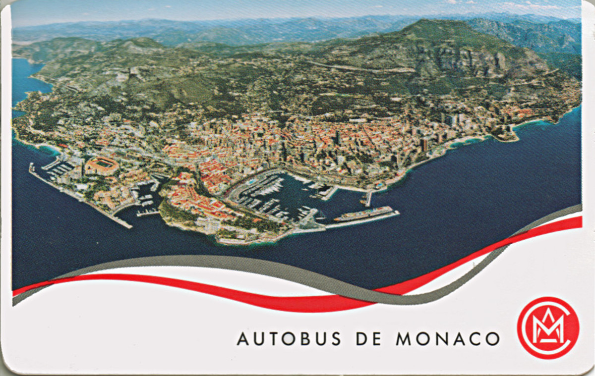 Bus ticket, showing satellite view of Monaco