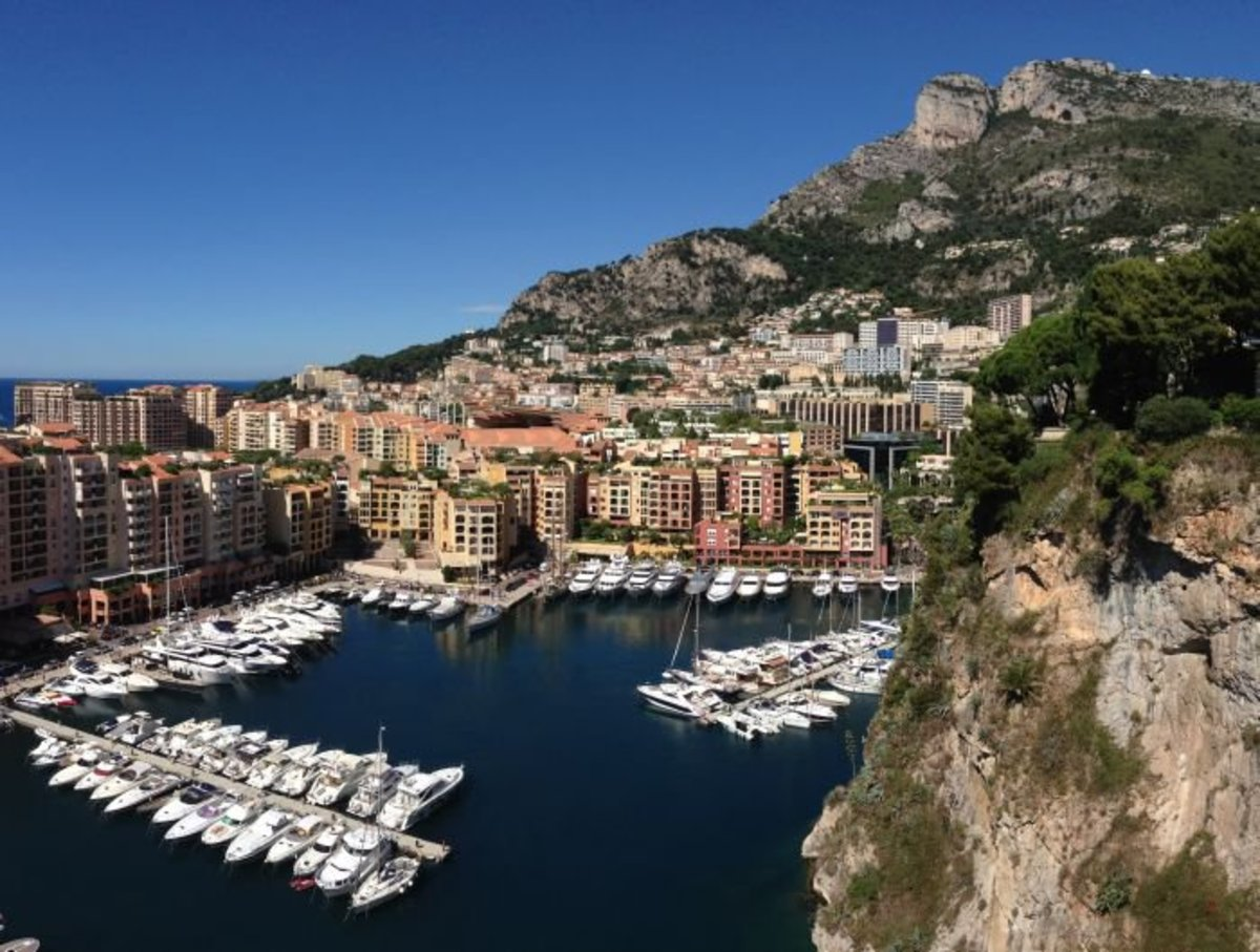 Fontvieille and its harbour, seen from Le Rocher