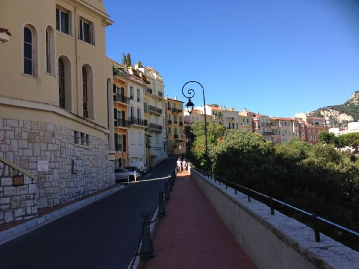 A road lined with fin de siecle houses on Le Rocher or Monaco-ville