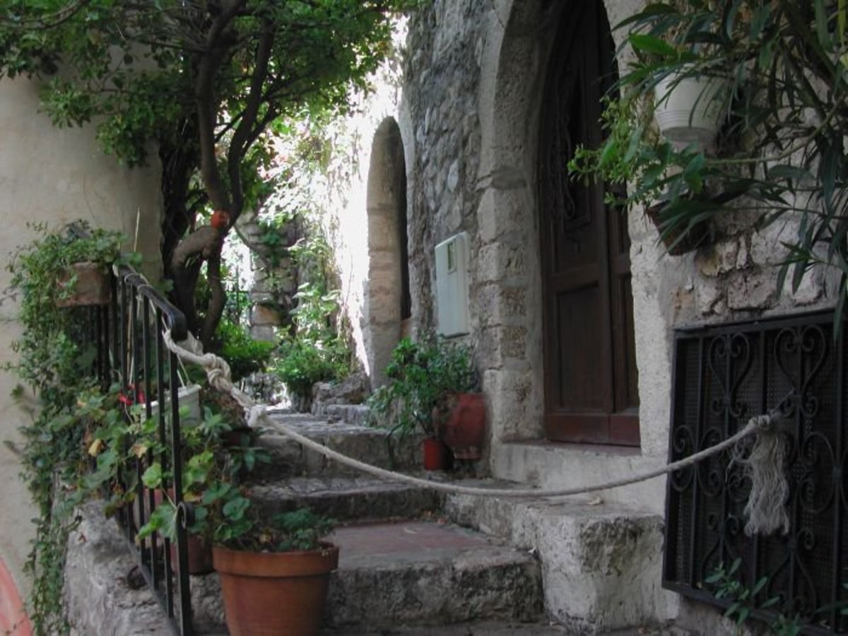 Steps up to an old stone house in Eze village