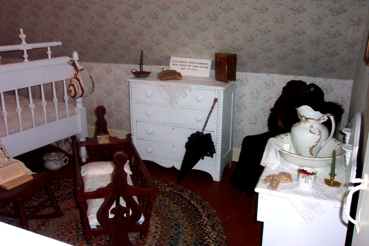 Image: At the top of a staircase is the room where the author of Anne of Green Gables was born.