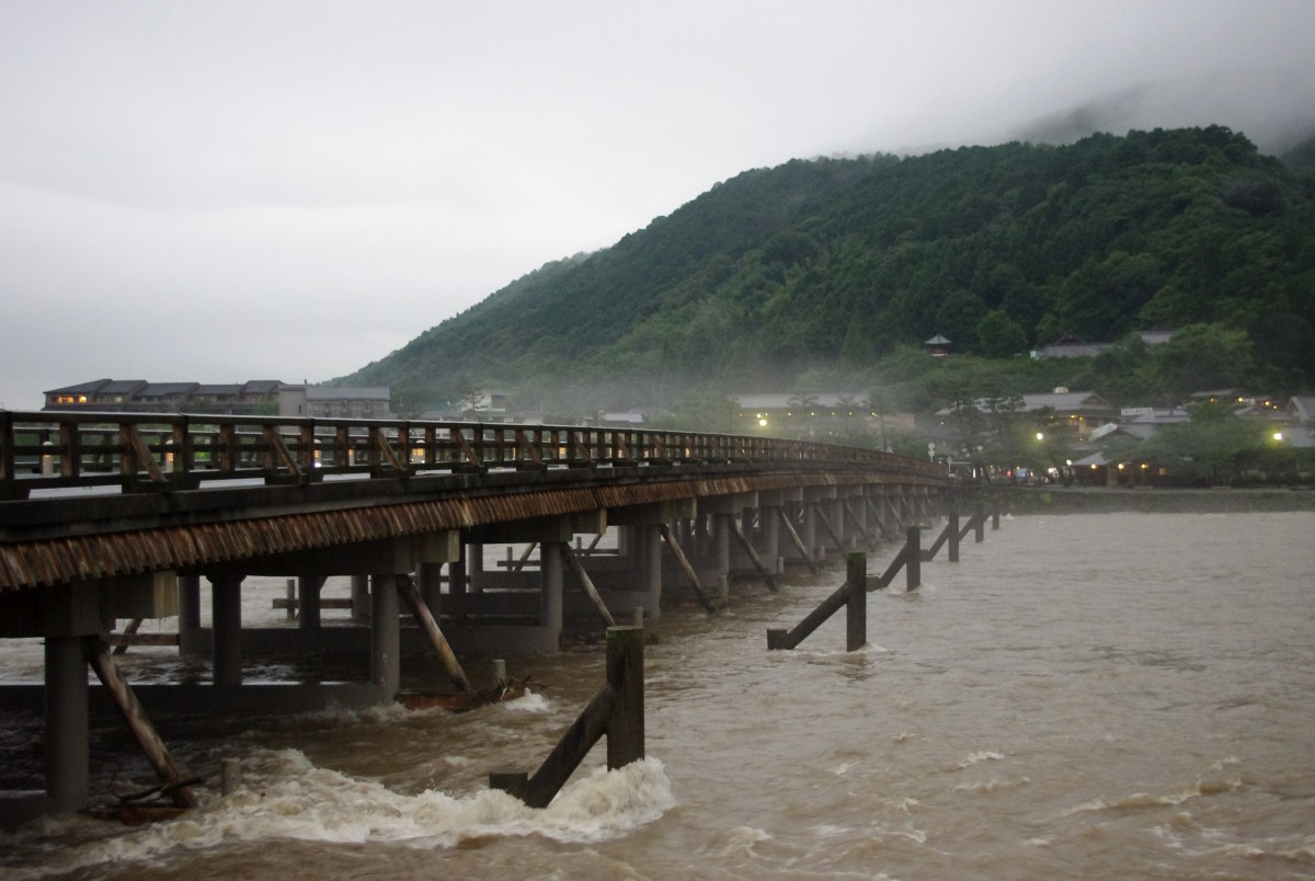 When beauty meets nature - Togetsu bridge battles a typhoon during Japan's rainy season.