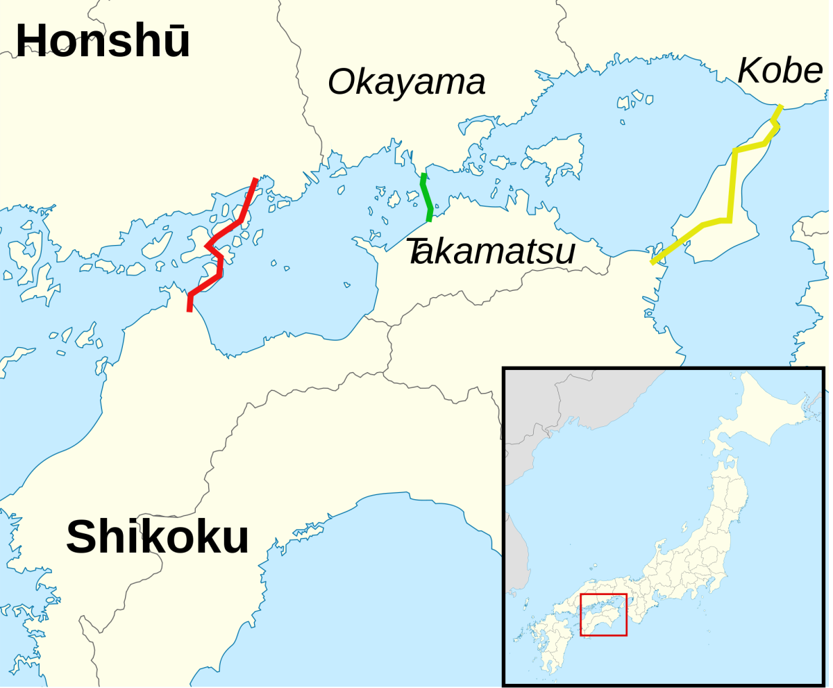 The yellow line connects Kobe City, Hyogo Prefecture, Honshu island to Tokushima Prefecture, Shikoku island, via Awaji Island in the Seto inland sea.