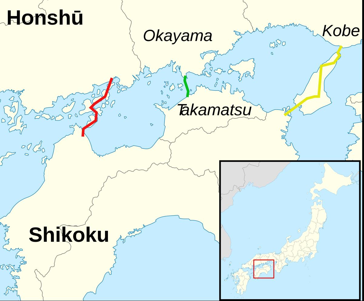 The yellow line connects Kobe City, Hyogo Prefecture, Honshu island to Tokushima Prefecture, Shikoku island, via Awaji Island in the Seto inland sea.