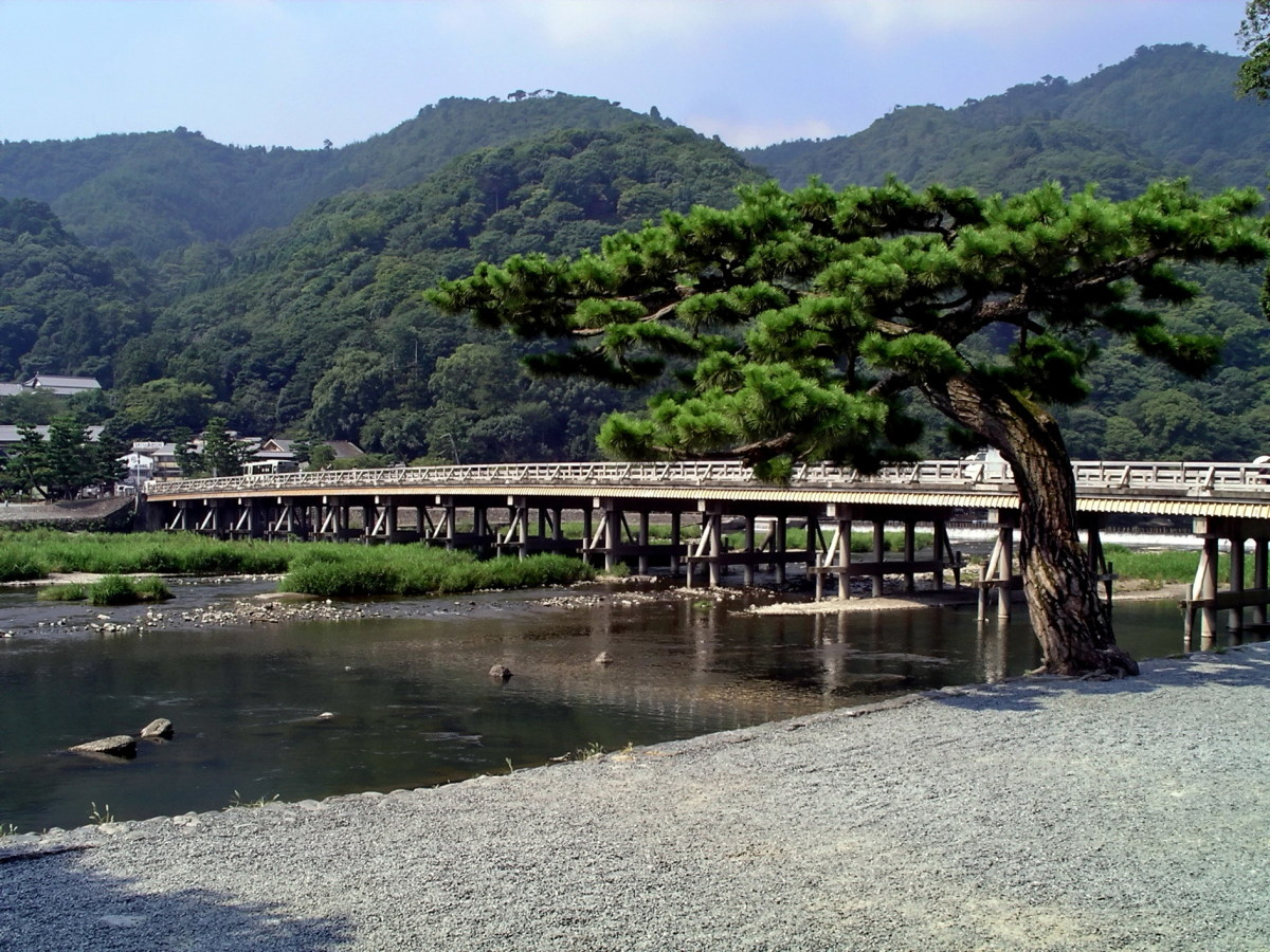 The romantic Togetsu Bridge is a popular tourist destination from Kyoto