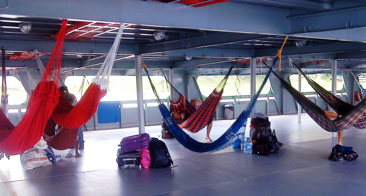 Hammocks Hooked Up on Deck Ready for the Amazon Adventure