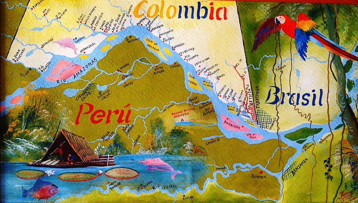 Colombia, Brazil and Peru all enjoy sharing the river Amazon, along with Bolivia, Venezuela and Ecuador.
