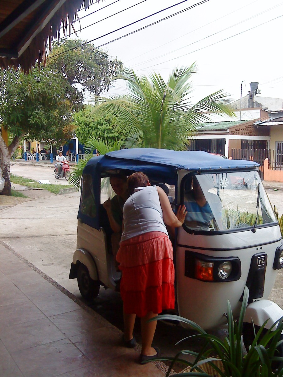 A 3-wheeler taxi, known locally as a tuki-tuki, is perfect for a tour of Leticia.